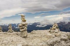 Stone mounds on top of Sass Pordoi. Dolomites. Italy. Stone mounds on top of Sass Pordoi. Dolomites. Italy Stock Photos