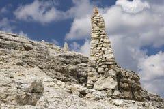 Stone mounds on top of Sass Pordoi. Dolomites. Italy. Stone mounds on top of Sass Pordoi. Dolomites. Italy Royalty Free Stock Image