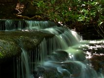 Stone Mountain Cascades. Small cascades along a creek at Stone Mountain State Park in North Carolina Stock Photos