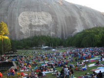 Stone Mountain, Georgia: Crowds gather. STONE MOUNTAIN, GA - SEPT 5: Labor Day weekend crowds prepare to watch the laser light show at Stone Mountain, Georgia on Stock Photo