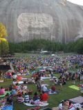 Stone Mountain, Georgia: Crowds gather. STONE MOUNTAIN, GA - SEPT 5: Labor Day weekend crowds prepare to watch the laser light show at Stone Mountain, Georgia on Royalty Free Stock Images