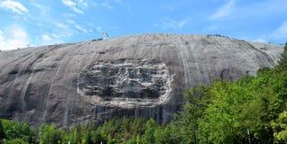 Stone mountain Georgia with three sculptures Stock Photos