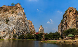 Stone Mountain, Stone Park Kao-ngu, Ratchaburi Thailand. Royalty Free Stock Photo