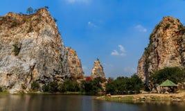 Stone Mountain, Stone Park Kao-ngu, Ratchaburi Thailand. Royalty Free Stock Photo