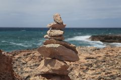 Stone mounts in the south coast of the island of majorca Stock Image