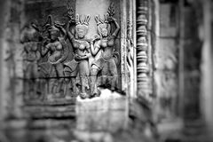 Stone murals and sculptures in Angkor wat, Cambodia Royalty Free Stock Photography