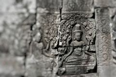 Stone murals and sculptures in Angkor wat, Cambodia Royalty Free Stock Images