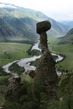 Stone mushrooms in Altai. Stone mushrooms in the valley of the Altai Chulyshman Stock Photography