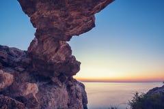 Stone natural bridge before sunrise Royalty Free Stock Image