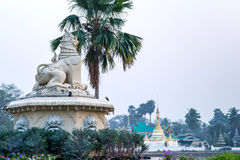 Stone novel lion statue look to Wat Jong Klang pagoda Stock Photography