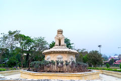 Stone novel lion statue look to Wat Jong Klang pagoda Stock Photos