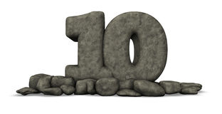 Stone number ten on white background Stock Image