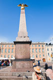 Stone obelisk on Market square in Helsinki Stock Photography