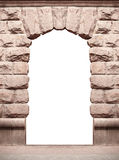 Stone old arch isolated on white background with place for text.  Royalty Free Stock Image