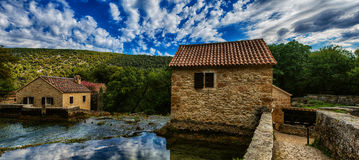 Stone old house of Krka National Park is one of Croatian Stock Photo