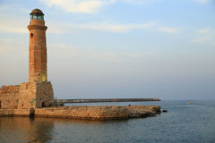 Stone old lighthouse Rethymno Crete Royalty Free Stock Images