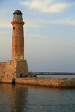 Stone old lighthouse Rethymno Crete Stock Photography