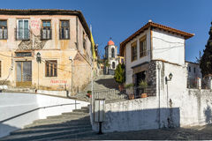 Stone orthodox church and old houses in town of Xanthi, Greece Royalty Free Stock Image