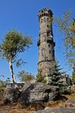 Stone outlook tower, Decinsky Sneznik Stock Images