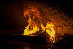 Stone oven fire Royalty Free Stock Image