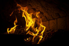 Stone oven fire Royalty Free Stock Photo