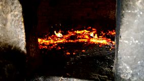Stone oven heating up stock video footage
