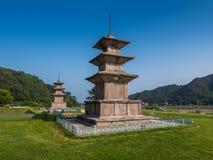 Stone pagodas, Gameunsa Temple Site, Gyeongju, Korea Royalty Free Stock Photography