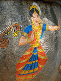 Stone painting of Nautch dancing girl Stock Images