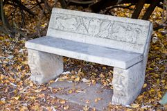 Stone Park Bench. A quite detailed park bench made out of stone royalty free stock photography