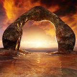Stone Passage Epic Sunset. Stone arc shaped gate serves as passage from lake to the sea in the epic sunset with clouds and stars Stock Photography