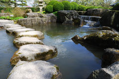 Stone path. In a japanese water garden stock photography