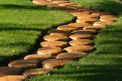 Stone path. Stone path across grassy plot Royalty Free Stock Photos