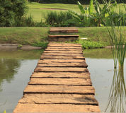Stone path across pond Royalty Free Stock Photography