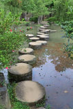 Stone path across the pond. Element of landscape design, a stone path across the pond Royalty Free Stock Photo