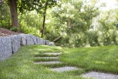 Stone Path along Rockwall stock photos