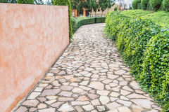Stone path with fallen leaves through Stock Image