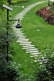 Stone path in garden. Top view of stone path in garden Royalty Free Stock Images