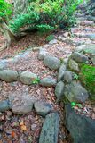 Stone path in the garden. Stone path through garden in landscapen format Royalty Free Stock Images