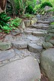Stone path in the garden. Stone path through garden in vertical Royalty Free Stock Photo