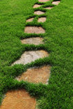 Stone path on the green grass Royalty Free Stock Image
