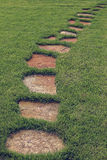 Stone path in green grass. Royalty Free Stock Images
