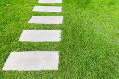 Stone path on the green grass Royalty Free Stock Photo
