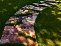 Stone path in green grass stock photos
