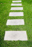 Stone path on the green grass Stock Photo