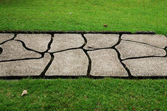 Stone path through a green grassy Royalty Free Stock Photography
