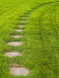 Stone path through a green grassy lawn Royalty Free Stock Photography