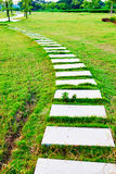 Stone path on green lawn Stock Photos