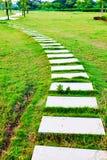 Stone path on green lawn Stock Photos
