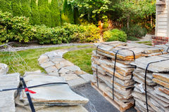 Stone path home improvement project Stock Photo