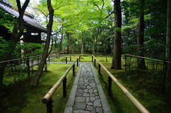 Stone path of Japanese garden, Kyoto Japan. stock photography